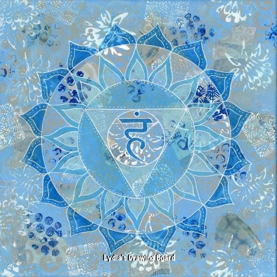 Mandala, Mandala Wall Art, Mandala Painting, Spiritual Art, Yoga, Throat Chakra, Chakra, Yoga Artwork, Mandala Art, Meditation, Healing Art