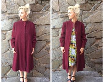 Junior Bell New York burgundy 100% pure wool trench coat