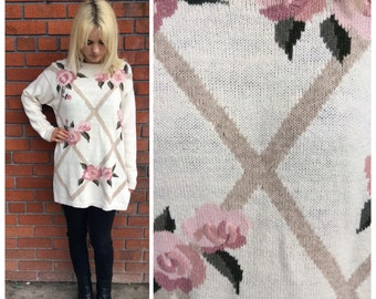 1990's Rose Knit Sweater
