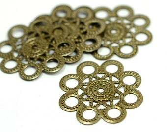 15 Pieces Antique Brass 28 mm Filigree Charms Findings