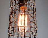 Rustic cage pendant light, hanging metal light, modern lighting, artisan lighting, bar lighting, edison bulb light