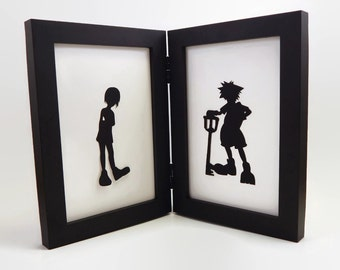 Sora with Kairi Kingdom Hearts sweetheart couple 4x6 Framed Sets  Hand cut paper art black silhouette paper cutting geeky nerd craft geekery