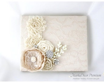 READY TO SHIP Wedding Lace Guest Book Custom Made in Champagne and Ivory with Handmade Flowers, Brooches and Stamens' Accents