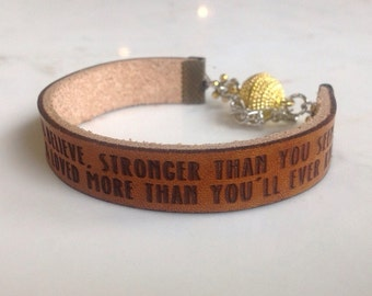 Braver, Stronger, Smarter & loved more than you'll ever know... Bauble bracelet  by A. A. Milne from Winnie the Pooh.  Gift for her