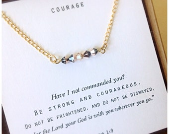Be Strong and Courageous... Joshua 1:9 Daily Reminder Leather Necklace  gifts for her, encouraging gift, sympathy gift