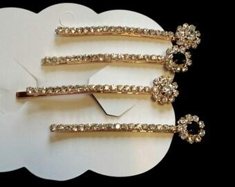 Crystal elegant  pins with black