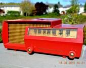 Mid Century Split Level DREAM Red Retro Vintage 1953 Philco Model 53-563 AM Tube Radio Totally Restored!