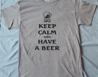 S - XL Keep Calm and Have a Beer Crew T-Shirt