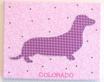FREE SHIPPING!! Daschund Wall art. Fabric canvas wall art. Swarovski crystal embellishments. Canvas art 8x10.Personalize pets name