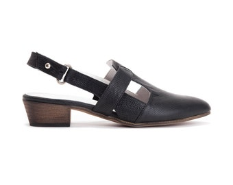 SALE 30% Off / Black Sandals, Black Shoes, Women Shoes, Slingbacks, Summer Shoes, Low Heel Shoes, Casual Shoes, Leather Shoes