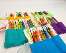 Mini crayon roll, handmade party bag fillers, made in UK unisex crayon roll, mini stocking fillers, set of five, party game prizes