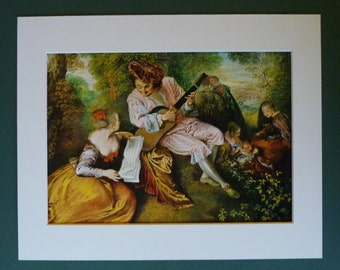 Romantic Rococo Print of The Scale of Love, Late Baroque Decor, Unique Valentine's Day Gift, Available Framed, Guitar Art, Serenade Wall Art