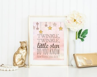 Twinkle Twinkle Little Star, Do you know how loved you are? - Digital - watercolor - pink - birthday party invitation - INSTANT DOWNLOAD