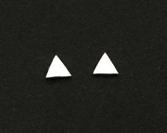 Tiny Sterling Silver Triangle Studs. Sterling Silver Triangle Ear Studs. Gift for Her. Everyday Earrings. Itsy Bitsy Triangle Stud Earrings.