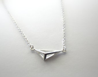 Geometric Pendant Necklace, Sterling Silver Rollo Chain, 3D Irregular Tetrahedron/ Three-sided Pyramid, Uneven, Assymetrical, Triangles