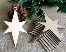 10 Wooden STARS for Christmas Tree Decorations, Gift Tags, Blank Craft Shapes