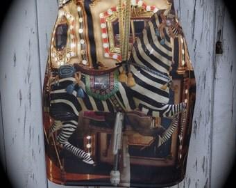 Vintage Carousel Zebra Mini Skirt - Size 8 10 12 14 16 - Bodycon Horse Funfair Retro