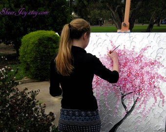 cherry blossom painting, cherry blossom paintings, cherry blossom painting, large wall art, pink blossom painting, pink art, big painting