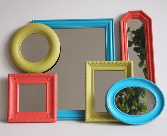 Mirror collection vintage framed wall mirror set by for Teal framed mirror