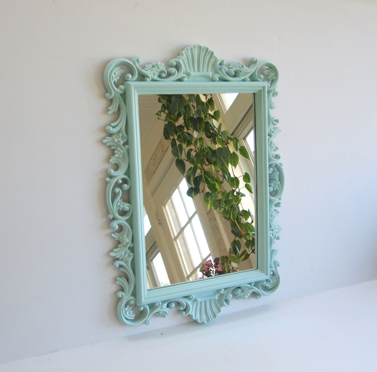 wall mirror vintage ornate shabby chic seafoam by. Black Bedroom Furniture Sets. Home Design Ideas