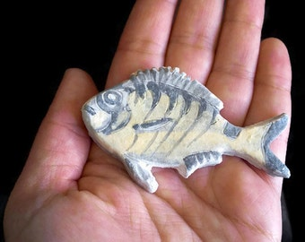 Fish magnet, pottery fridge magnet, small handmade refrigerator magnet, cute clay kitchen magnet, grey sea magnets, unique kitchen decor.