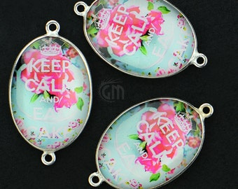 Fascinating Keep Calm & Eat Cake Glass Cabochon Bezel Connector, Silver Plated, Double Bail 1pc (PP-10571)