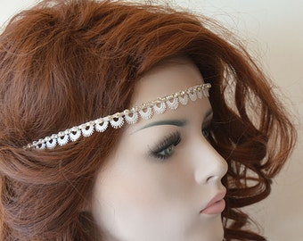 Rustic Lace Wedding Headband, Rhinestone and Lace Headband,  Bridal Hair Accessory, Rustic Wedding Hair Accessory