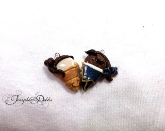 Disney Couples Heart Necklaces: Beauty and the Beast's Belle and Beast