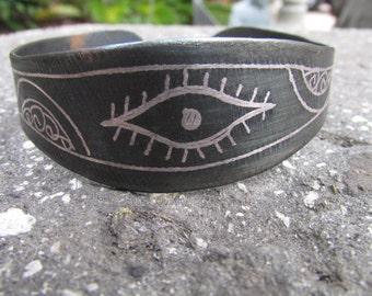 Eye of Evil Fatima Hasma Bracelet engraved Metal Morocco