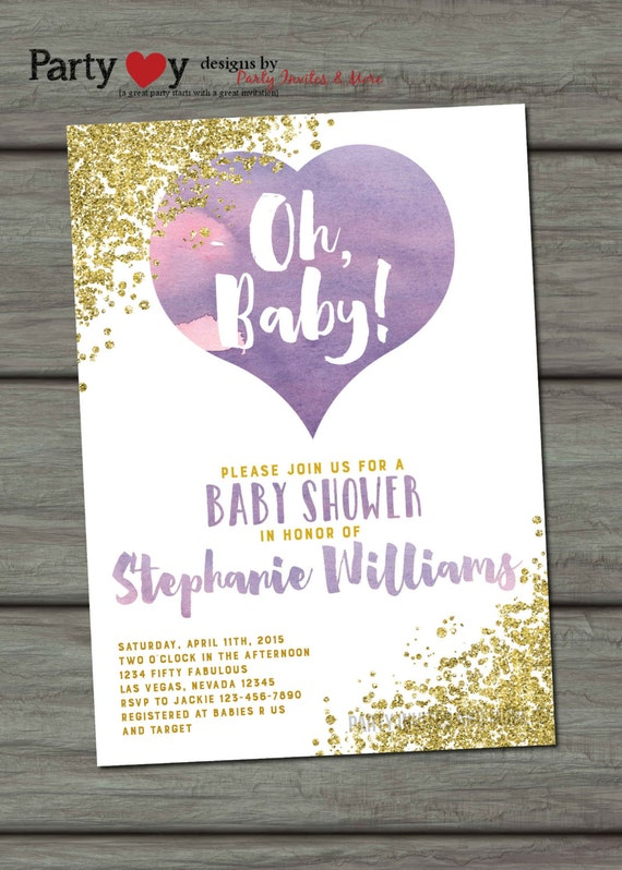 purple and gold baby shower invitation watercolor baby shower