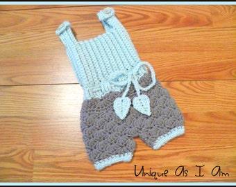Crochet Newborn Gray and Menthe Baby Onsie Romper/Photo Prop