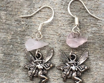 Fantasy Silver Fairy Pink Stone Sterling Silver Earrings