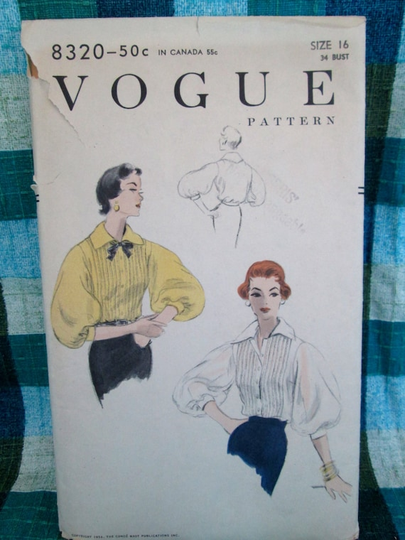 Vintage 1954 Vogue Pattern #8320 Womens' Blouse Perforated Sewing Pattern w/ Instructions