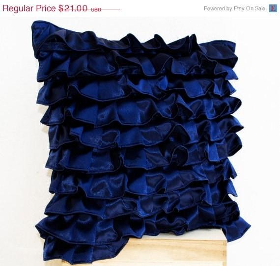Blue Ruffled Throw Pillows : Navy Blue Satin Ruffle Pillow Decorative pillow Dark Blue