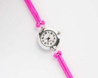 Neon Pink Suede Bracelet Watch