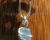 Tiny Cornflower Blue Sea Glass Necklace Pendant - Odyssey Sea Glass Jewelry - Silver Wire Wrap - LJ0004