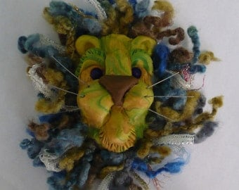 WILDCAT - Another Hairy Lion Head Wall Hanging Inspired by Christi Friesen