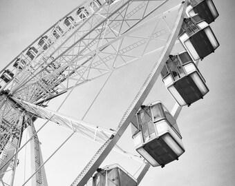 "Paris Black and White - Grand Rue Ferris wheel 16x20 Paris art print gray photo 8x10 hallway wall decor 11x14 travel art 5x7 ""Millennium"""