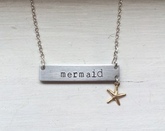 Mermaid necklace, bar necklace, under the Sea necklace, the little mermaid, gold filled starfish, nautical, personalized
