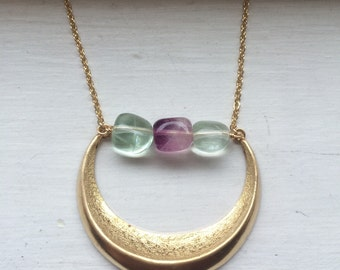Brass crescent with fluorite stones, wire wrapped stone necklace, AA fluorite