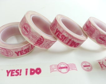 Pink Yes I Do Washi / Masking Tape - 15mm x 10M