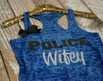 Burnout Tank. Workout Tank. Police Wife. Police bride. police girlfriend. police. tank top. gym shirt. burnout tank top. workout cothing