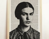 Frida Kahlo Print Portrait Poster Black White Mexican Folk ooak Illustration Engraving Art Upcycled Decor Book Dictionary A4 8.3 x 11.7 in