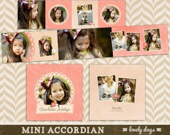 3x3 Mini Accordion Album Template - WHCC Photoshop Templates for Photographers INSTANT DOWNLOAD