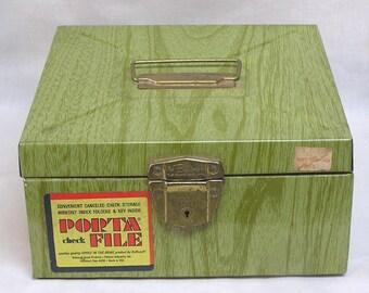 Vintage Tin Porta File Box for Cancelled Checks Circa 1960s-70s
