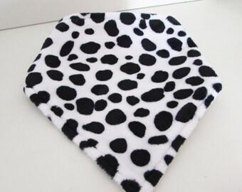 Handmade Dalmatian Print Plush and Organic Cotton/Bamboo Bandana Bib