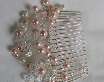 Blush pink pearl and orchid Bridal Hair Comb