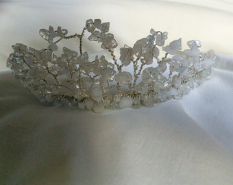 Bridal topaz gemstone lace effect tiara headdress headband