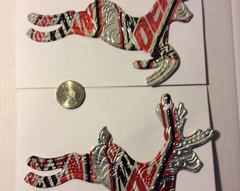 Recycled Soda Diet Mountain Dew CODE RED Cola Drink Can - set of 2 embossed reindeer Christmas Ornaments