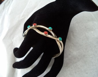 Sterling Turquoise and Coral Bracelet